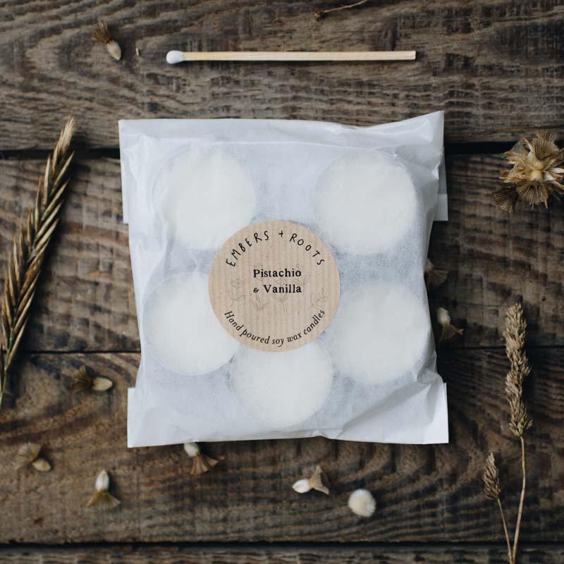 Pistachio & vanilla tea lights